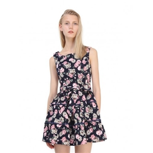 Pink Floral Print Bowknot Front Square Neck Skater Dress