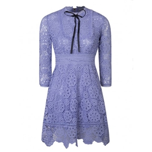 Blue Contrast Bow Tie Front 3\/4 Sleeve Floral Lace Dress