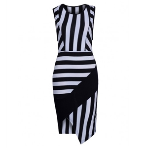 Monochrome Stripe Print Asymmetric Bodycon Dress