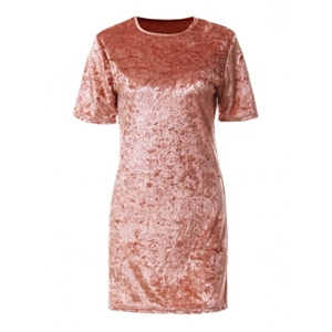 Pink Short Sleeve Metallic Velvet Shift Dress