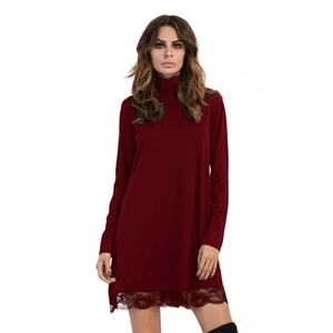 Burgundy High Neck Long Sleeve Lace Trim  Dress