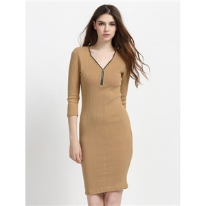Camel V-neck Zip Detail 3\/4 Sleeve Knitted Bodycon Dress