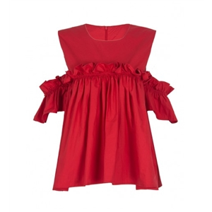 Red Cold Shoulder Ruffle Detail Babydoll Top
