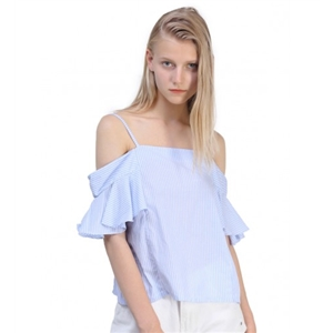 Blue Off Shoulder Ruffle Sleeve Blouse