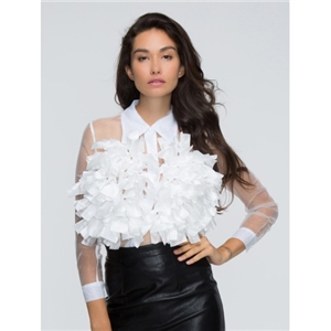White 3D Flower Long Sleeve Sheer Shirt