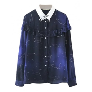 Blue Galaxy Print Ruffle Detail Goat Collar Long Sleeve Shirt