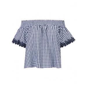 Blue Plaid Off Shoulder Short Sleeve Blouse