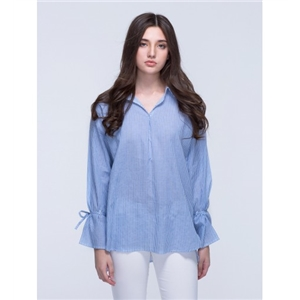 Blue Stripe Side Split Long Sleeve Shirt