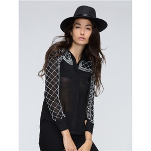 Black Jeweled Geo Pattern Detail Button Front Blouse