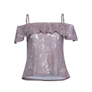 Gray Off Shoulder Ruffle Overlay Sheer Lace Cami Top