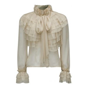 Beige High Neck Bow Tie Front Layered Ruffle Sheer Shirt