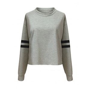 Gray Stripe Sleeve Cropped Sweatshirt