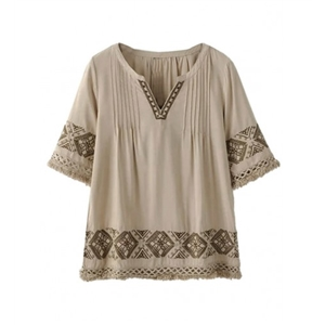 Light Brown V-neck Embroidery Pattern Raw Hem Blouse