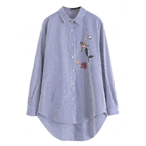 Blue Stripe Embroidery Mermaid Dipped Hem Long Sleeve Shirt