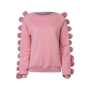 Pink Pom Pom Embellished Sleeve Basic Sweatshirt