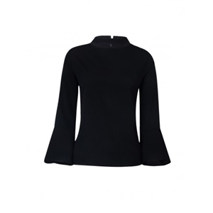 Black Choker Neck Flared Sleeve Blouse