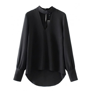 Black Plunge Front Choker Neck Dipped Hem Long Sleeve Blouse