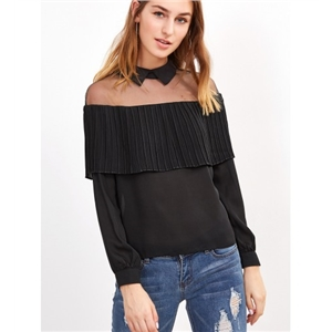 Black Mesh Panel Ruffle Detail Long Sleeve Blouse