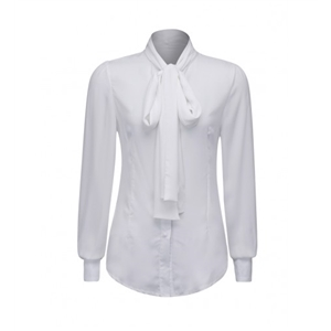 White Tie Neck Long Sleeve Shirt