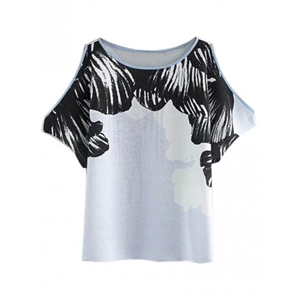 White Contrast Printed Detail Cold Shoulder Blouse