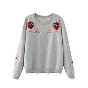 Gray Embroidery Flower Long Sleeve Sweatshirt