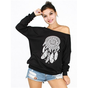 Black Off Shoulder Dreamcatcher Print Sweatshirt
