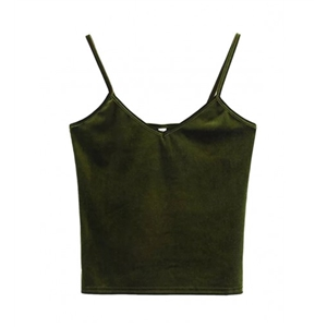 Oliver Green V-neck Velvet Cropped Cami Top