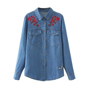 Blue Embroidery Floral Pocket Long Sleeve Denim Shirt