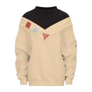Beige High Neck Patch Detail Long Sleeve Boyfriend Sweatshirt