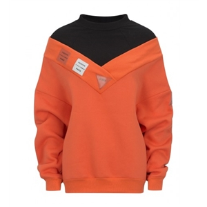 Orange High Neck Patch Detail Long Sleeve Boyfriend Sweatshirt