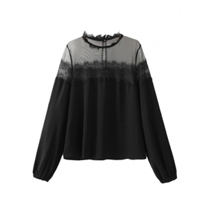 Black Sheer Panel Lace Detail Long Sleeve Blouse