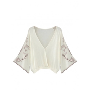 White V-neck Embroidery Detail Belle Sleeve Blouse