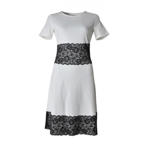 Round Neck Skater Dress With Black Decorative Lace