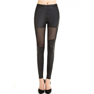 Patchwork See-Through Plain Mid-Rise Legging