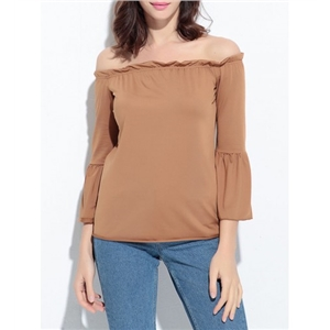Solid Off Shoulder Bell Sleeve T-Shirt