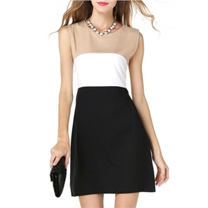 Round Neck Fabulous Color Block Shift Dress