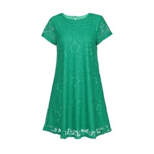 Fancy Solid Round Neck Lace Shift Dress