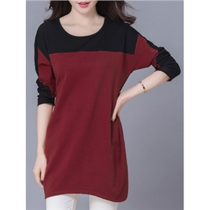 Longline Color Block Round Neck Plus Size T-Shirt