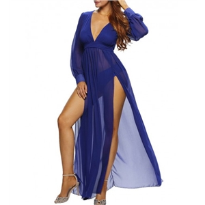 Enticing Deep V-Neck High Slit See-Through Plain Maxi Dress
