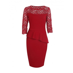 Peplum Patchwork See-Through Plain Courtly Bodycon Dress