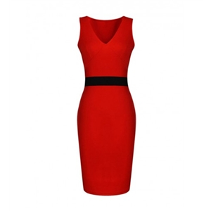 V-Neck Courtly Color Block Bodycon Dress