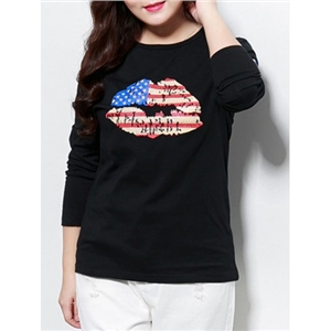 Lip National Flag Printed Round Neck Plus Size T-Shirt