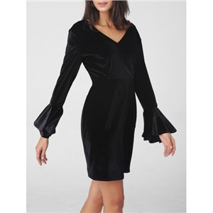 Bell Sleeve Deep V Neck Velvet Bodycon