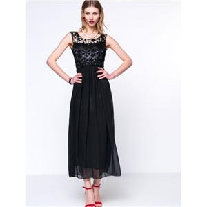 Hollow Out Plain Attractive Scoop Back Round Neck Chiffon Maxi Dress