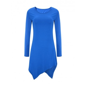Basic Asymmetric Hem Plain Long Sleeve T-Shirt