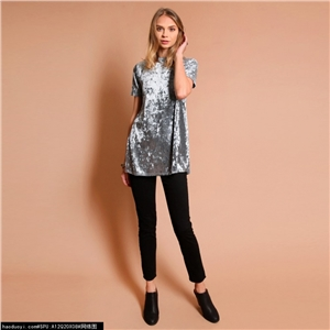Institute of fashion wind velvet side split female T-shirt with short sleeves