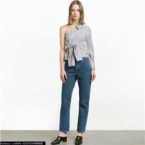 Department of European and American fashion striped one-shoulder sleeves asymmetric waist button shirt