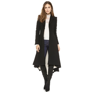 Black Asymmetrical High Low Long Sleeve Longline Coat