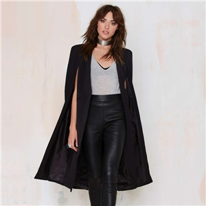 Black/Red/Military Longline Buttonless Blazer Coat