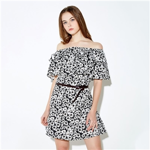 Sexy sweet Lotus Bian Chuju printing horizontal neck strapless dress